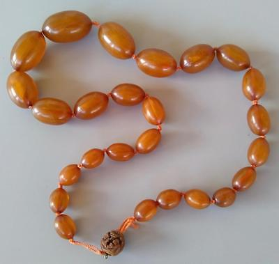 Vintage Chinese Butterscotch Egg Yolk Amber Bead Necklace