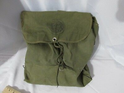 Vintage OFFICIAL TRAIL CAMPER Green Cotton Canvas Backpack Knapsack scouts #34