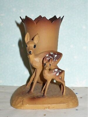 Vintage Plastic Doe & Fawn Figurine With Small Vase Wood Look Hong Kong