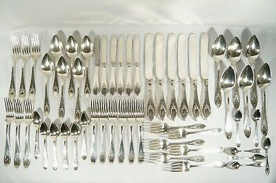 54 pc 1910 ADANAC International STERLING SILVER WILCOX  Flatware Initial K