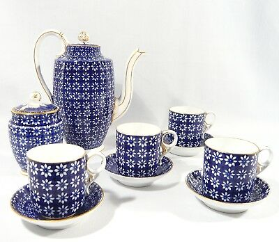 Antique 1880 Royal Crown Derby Demitasse COFFEE Coffee Pot Cups Saucers  DAISY