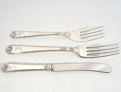 RARE Vintage Birks George II Plain Knife & 2 Forks with ARMORIAL Sterling Silver