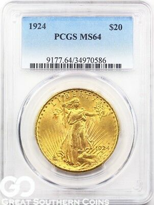 1924 PCGS Double Eagle, $20 St. Gaudens PCGS MS 64 ** Sharp Strike and Luster