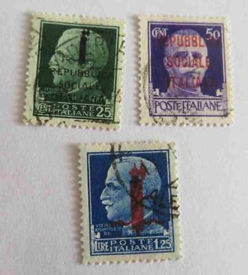Italy Social Republic 1944 overprint small collection used