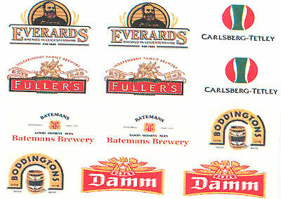 12 BEER RELATED DECAL WATERSLIDES ideal FOR MODELS CODE 3 NEW dinky lledo corgi
