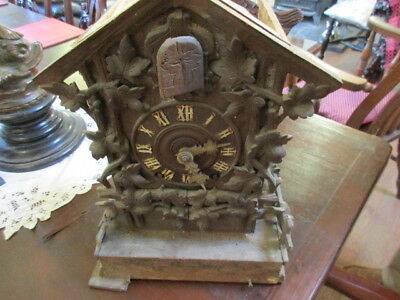 vintage black forest fusee movement   cuckoo clock as found