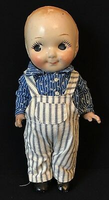 """13"""" Vintage Composition Buddy Lee Doll In Stripe Overalls (Engineer?) As Is"""