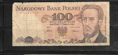 POLAND #143e 1986 VG USED 100 ZLOTYCH OLD bill BANKNOTE PAPER MONEY CURRENCY