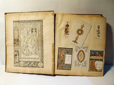 c1900 NUN'S Scrapbook Religious Cards Scraps Silk Paper Lace Art Fabulous