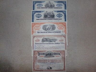 Lot of 5 Different Stock Certificate incl. Railroads