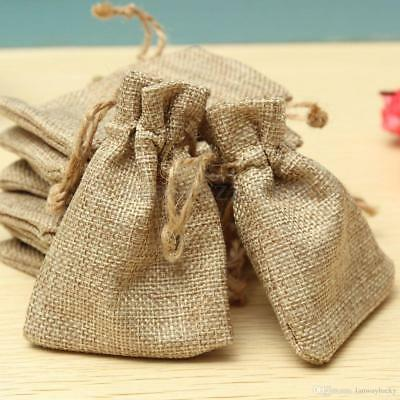 13cm Traditional Chic Hessian Jute Gift Bags Present Favour Wedding Event Burlap