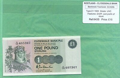 £1 Note Clydesdale Bank Plc