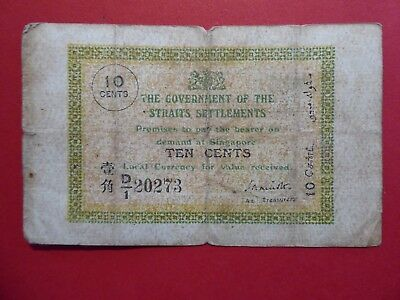 MALAYSIA - STRAITS SETTLEMENTS old 1920s British colonial TEN CENTS banknote