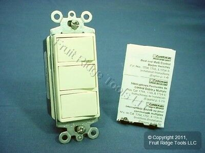 New Leviton Almond Decora Single Pole Triple Rocker Wall Light Switch 15A 1755-A