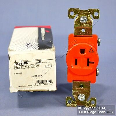 Cooper Industrial Orange ISOLATED GROUND Receptacle Single Outlet 20A IG5361RN