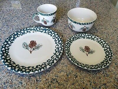 Tienshan Folk Craft Pine Cone 4 pc place setting dinner dalad plate bowl mug cup