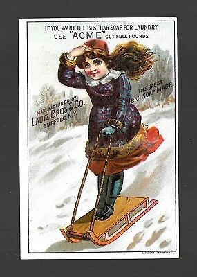 Girl Zooms Down Winter Sledding Hill-1880s Victorian Trade Card for Soap