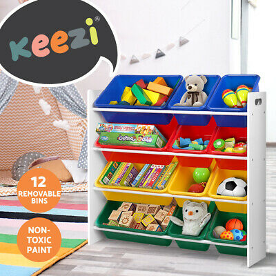 12 Plastic Bins Kids Toy Organiser Box Storage Shelf Wood Rack Cabinet Bookshelf