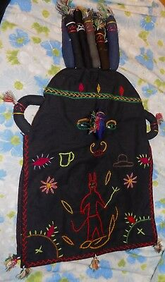 VTG RARE Handmade Folk Art Tribal Embroidered Fabric Face Mask Costume WEIRD