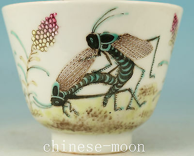 exquisite Chinese Porcelain Hand Painting Locust Statue Wine Tea Cup Bowl