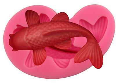 3D Silicone Fish Koi Carp Chocolate Sugarcraft Mould Cake Decor Topper Baking UK