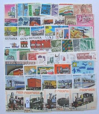 Trains thematics lot 50 different World  stamps,used,CTO as in scan.Lot D