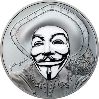 Cook Islands 2017 5 $ HISTORIC GUY FAWKES MASK II Anonymous 1Oz Silver Coin