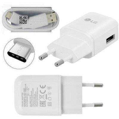 Genuine Lg 2 Pin Eu Wall Charger/type C Usb Data Cable For Lg G6 G5 Nexus 5X