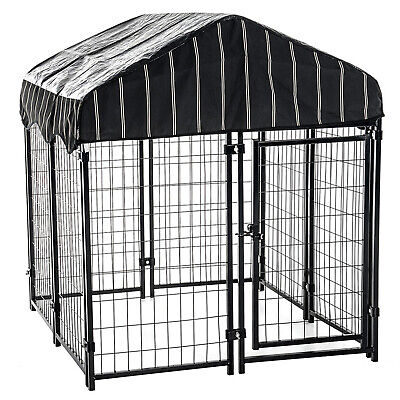 Lucky Dog 4' x 4' x 4.5' Heavy Duty Covered Wire Dog Fence Kennel Pet Play Pen