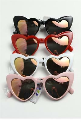 Vintage Shaped White Pinup Eye Cat Womens Mirror Pink Red Black Heart Sunglasses Yvmf6gyIb7