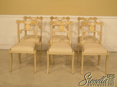 L23853: Set Of 6 French Louis XVI Style Paint Decorated Dining Room Chairs
