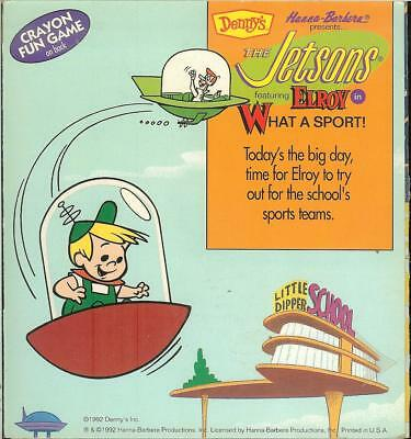 1992 Denny's Promo ~ Hanna-Barbera The Jetsons - Elroy Sports Crayon Fun Game