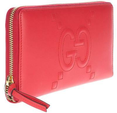 df0d0118633 NEW GUCCI RED Leather Gg Embossed Xl Long Zip Around Clutch Wallet W ...