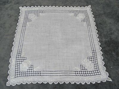 Antique Swiss Appenzell Bridal Hankerchief Embroidered Linen n°2