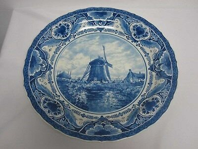 """ANTIQUE DELFT LARGE 16"""" CHARGER PLATE BOWL with WINDMILL SCENE"""