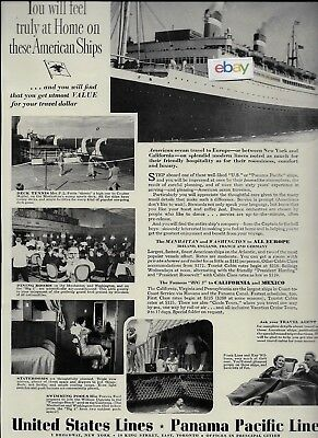 United States Lines & Panama Pacific Line New York/california Feel Home 1937 Ad