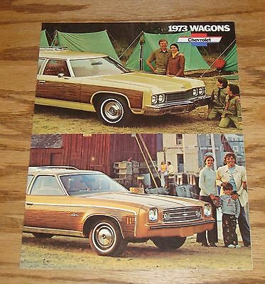 Original 1973 Chevrolet Station Wagon Facts Features Sales Sheet Brochure 73