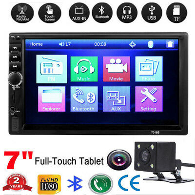 7inch 2DIN Car MP5 Player Bluetooth Touch Screen Stereo Radio HD +Rear Camera US