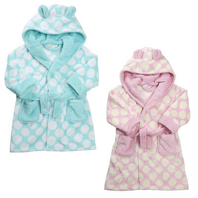 Kidz Girls Supersoft Fleece Spotty Hooded Dressing Gown