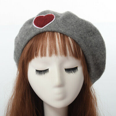 Cute Sweet Love Heart Embrodiery Winter Warm Beret Lolita Girls Harajuku Hat