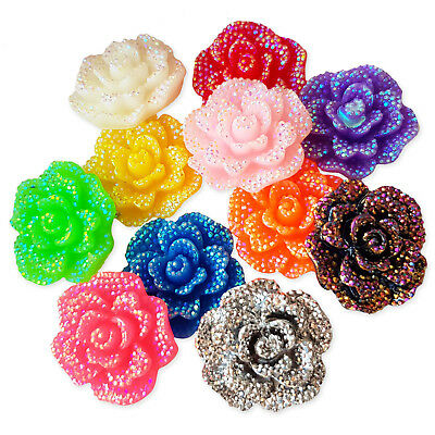 5pc Large 30mm Glitter Resin Rose Flower Flatback Cabochon Craft Embellishments