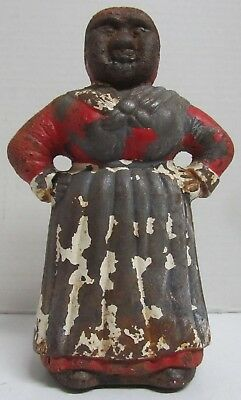 Cast Iron Black Americana Aunt Jemima Coin Bank Vintage 8 inches Free Shipping