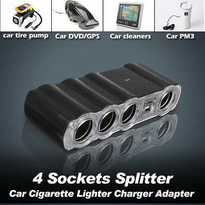 Car Cigarette Lighter 4 Way Multi Socket Splitter Charger DC 12V w/2 USB Port US