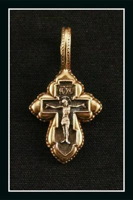 Russian Orthodox Silver Gold Cross Pendant Jesus Christ (#106)