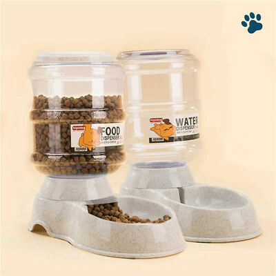Automatic Pet Feeder Dispenser Waterer Dog Cat Self Feeding Bowl 2 Pieces