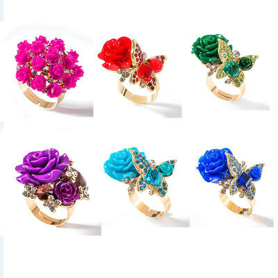 Resin Rose Flower Butterfly Open Adjustable Women Finger Rings Diamond Jewelry