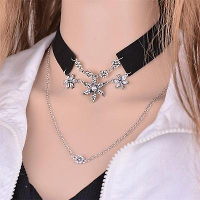 Double Chain Leather Collar Chain Choker Necklace Flower Crystal Pendant Jewelry