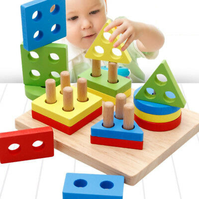 Educational Wood Baby Kids Building Blocks Sorting IQ Geometric Montessori Toys