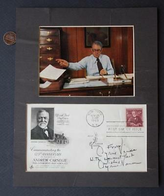 1977-80 Secretary of State Cyrus Vance signed First Day Cover set-Signed TWICE!