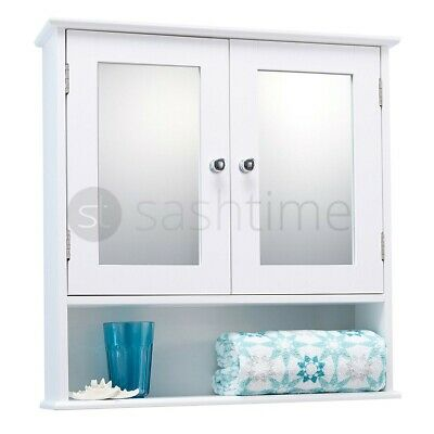 Double Mirror Door Bathroom Cabinet Wall Mounted White Wooden Storage Shelf Unit